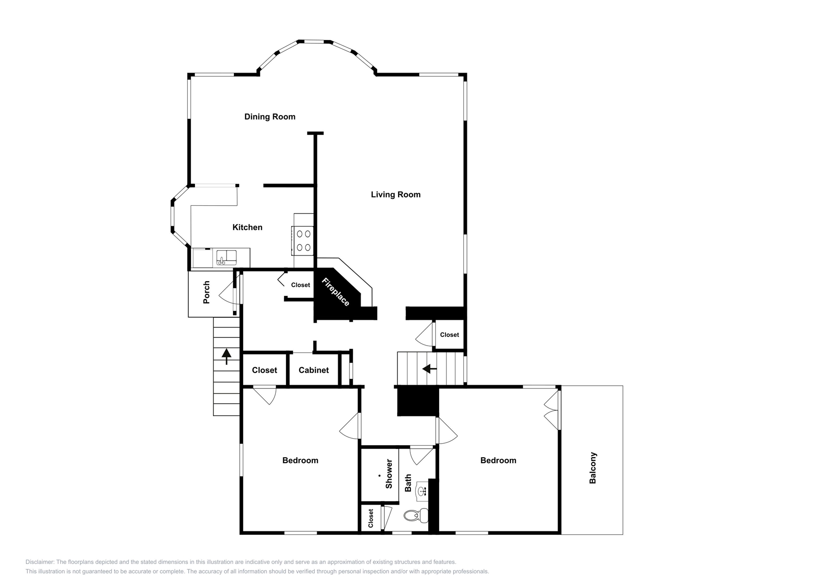Floor Plan for Bay View 2BD/2BA Mission Hills Renta: Palm View Penthouse